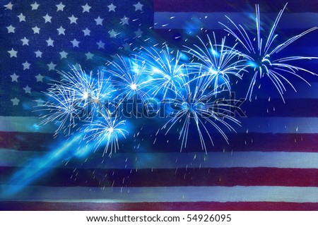 fireworks against the backdrop of the American flag - stock photo
