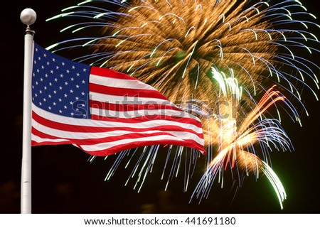 Fireworks and flag background for Independence Day - stock photo