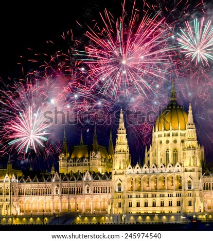 Fireworks and Hungarian parliament, Budapest - stock photo