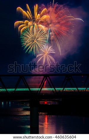 Fireworks and train (Odakyu Electric Railway), Ebina, Kanagawa-ken, Japan