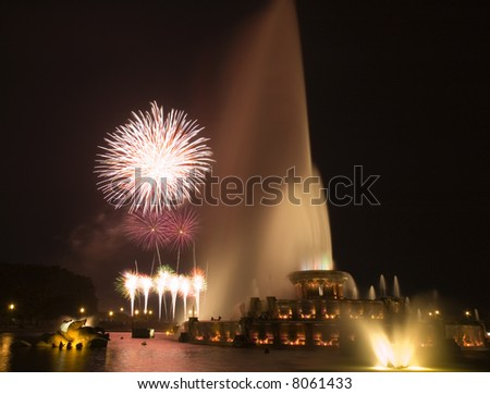 Fireworks at Buckingham fountain - stock photo