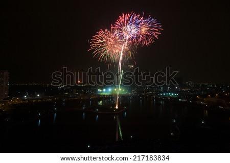 Fireworks at Den Lu lake, Hanoi upon lunar new year festival - stock photo