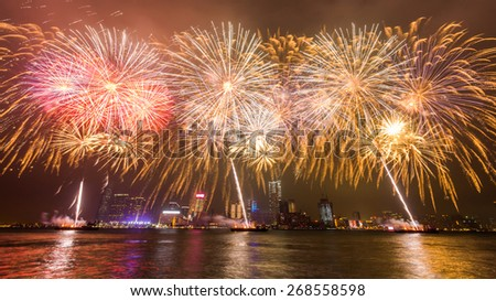 Fireworks at Victoria Harbor in Hong Kong - stock photo