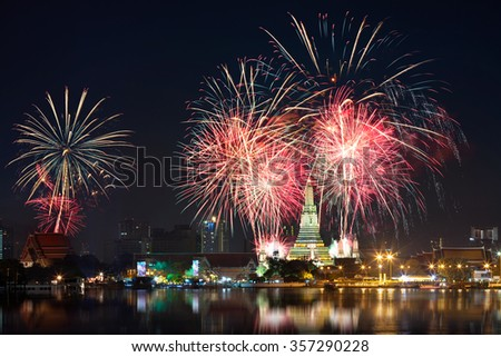 Fireworks at Wat arun under new year celebration time, Bangkok Thailand