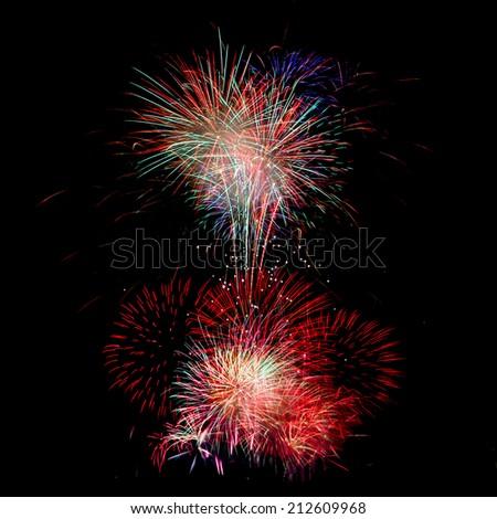 fireworks background - stock photo