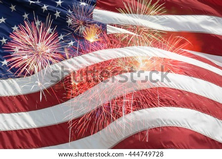 Fireworks background for Independence Day - stock photo