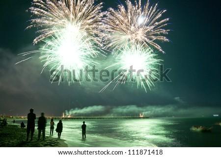 fireworks beach of Forte dei Marmi Italy - stock photo