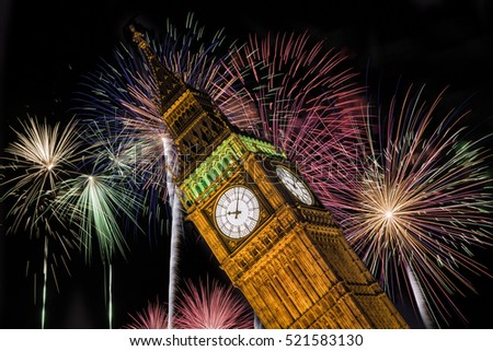 Fireworks behind the Big Ben Tower in London