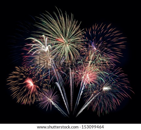 Fireworks Bouquet - 4th of July celebration in the United States - stock photo