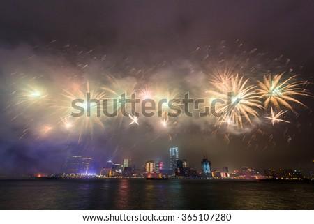 Fireworks Celebration at Hong Kong Victoria Harbor - stock photo