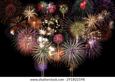 Fireworks Celebration at night on black Background - stock photo