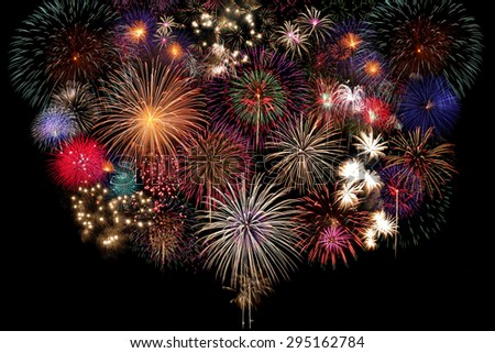Fireworks Celebration at night on black Background - stock photo