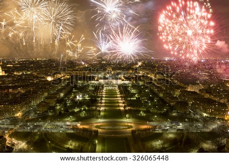 Fireworks, celebration of the New Year in Paris, France - stock photo