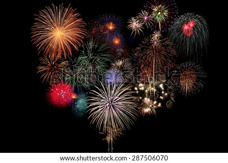 Fireworks Celebration on black Background - stock photo