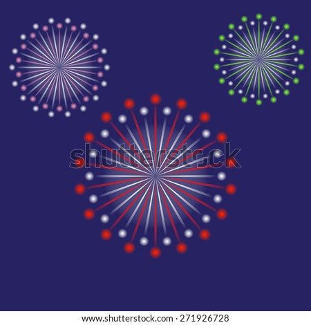 Vector Fireworks Silhouettes City Amusement Park Stock