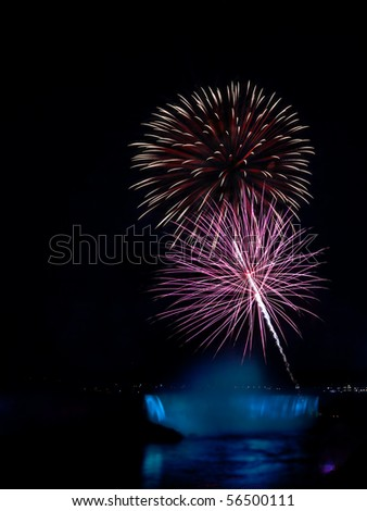 Fireworks display at Niagara Falls photographed from the Canadian side