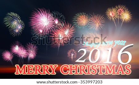 Fireworks display during sunset. Beautiful firework display for celebration. Sunset background. Sunset with firework background. Merry Christmas typography and happy new year text.
