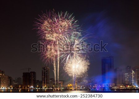 Fireworks display in Sharjah City, United Arab Emirates