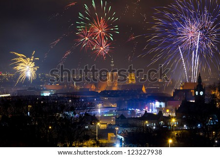 Fireworks display of New Years Eve in Gdansk, Poland - stock photo