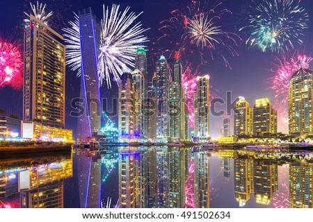 Fireworks display on the sky in Dubai city, UAE