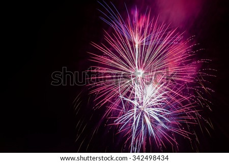 Fireworks display photographed