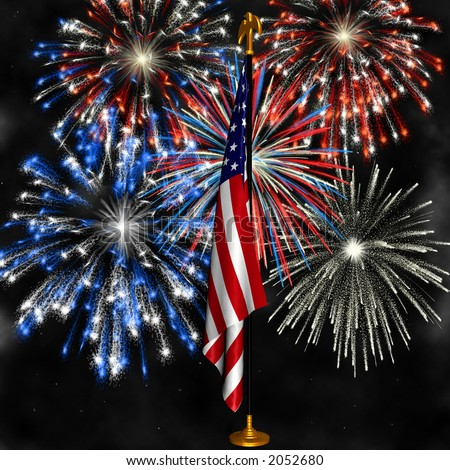 Fireworks displayed behind the American Flag on a stand against a night sky - stock photo