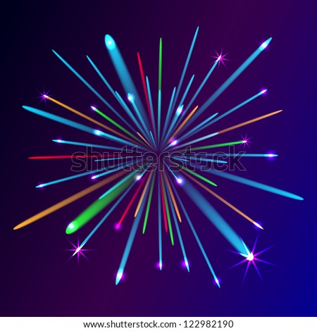 fireworks explosion on free space sky, illustration - stock photo