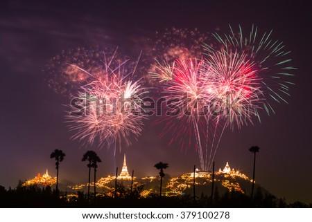 Fireworks Festival at Phra Nakhon Khiri (Khao Wang), Phetchaburi, Thailand - stock photo