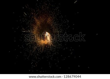 Fireworks Fireball, Fourth of July - stock photo