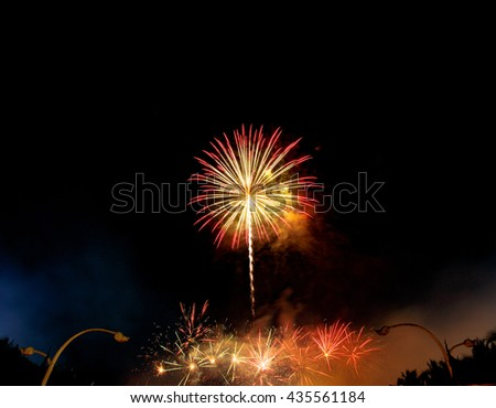 Fireworks Five - Five Fireworks Blast at 4th of July celebration in the United States  - Vibrant color effect - stock photo