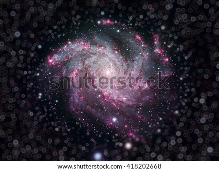 Fireworks Galaxy is an intermediate spiral galaxy in the constellations Cepheus and Cygnus. Image with small DOF. Elements of this image furnished by NASA.