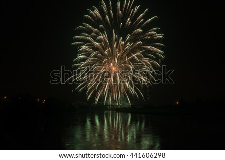 Fireworks in a river
