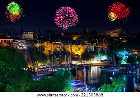 Fireworks in Antalya Turkey - holiday background - stock photo