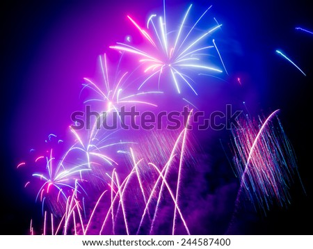 FIreworks in any European city at New Years eve 2015 - 2016 - stock photo