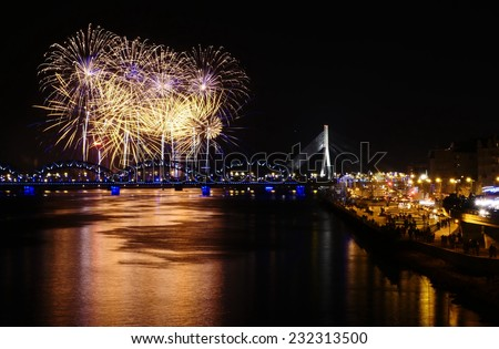 Fireworks in Big Eeuropean city Riga, Independence day - stock photo