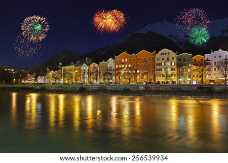 Fireworks in Innsbruck Austria - holiday background - stock photo