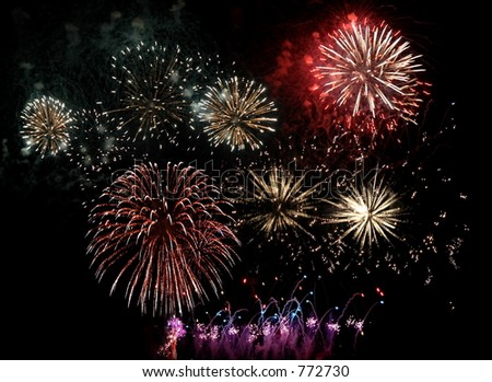 fireworks in Madeira Island - stock photo