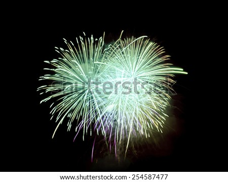 fireworks in night sky,green color tone