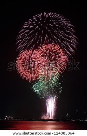 Fireworks in Pattaya city, Chonburi, Thailand - stock photo