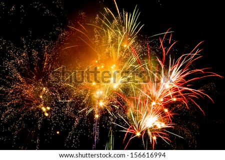 Fireworks in the celebrations at night - stock photo