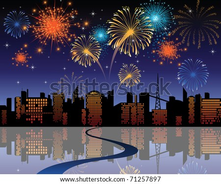 fireworks in the city - stock photo
