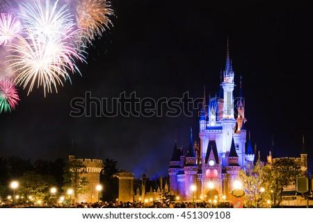 fireworks in tokyo disney - stock photo