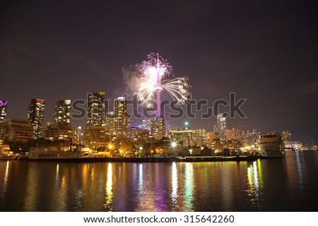 Fireworks in Toronto, Ontario, Canada - stock photo
