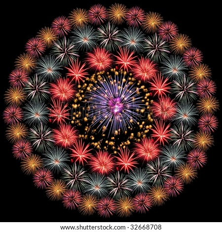 Fireworks Isolated and Arranged in Circles - stock photo