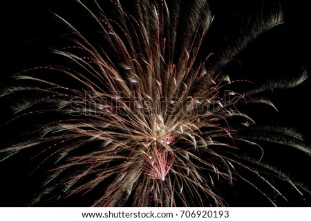 Fireworks isolated on a dark background. Detail