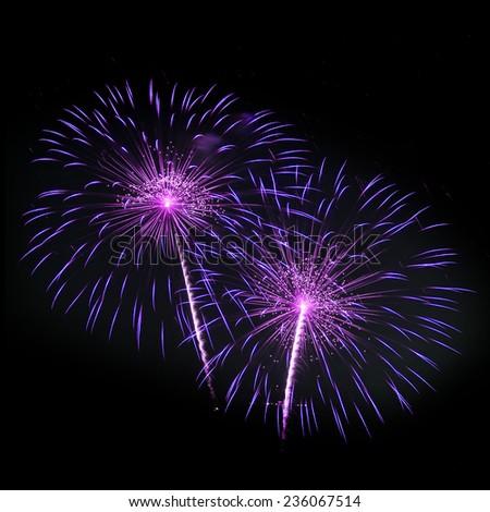 Fireworks isolated on black background - stock photo