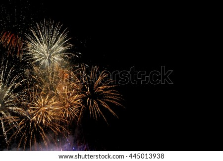 Fireworks isolated on black background with free space for text - stock photo