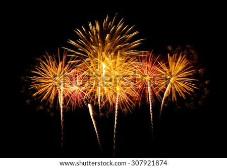 Fireworks light up the sky with dazzling display  - Vibrant color effect - stock photo