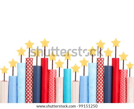 Fireworks made out of paper, Isolated on white background - stock photo