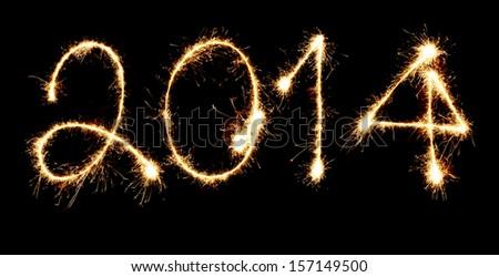 Fireworks New Year 2014 - stock photo